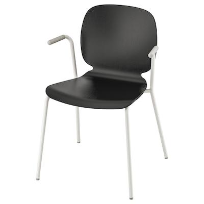 SVENBERTIL Chair with armrests, black/Dietmar white
