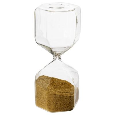 TILLSYN Decorative hourglass, clear glass, 16 cm
