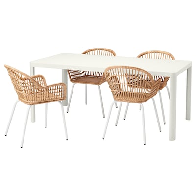 TINGBY / NILSOVE Table and 4 chairs, white/rattan white, 180x90 cm