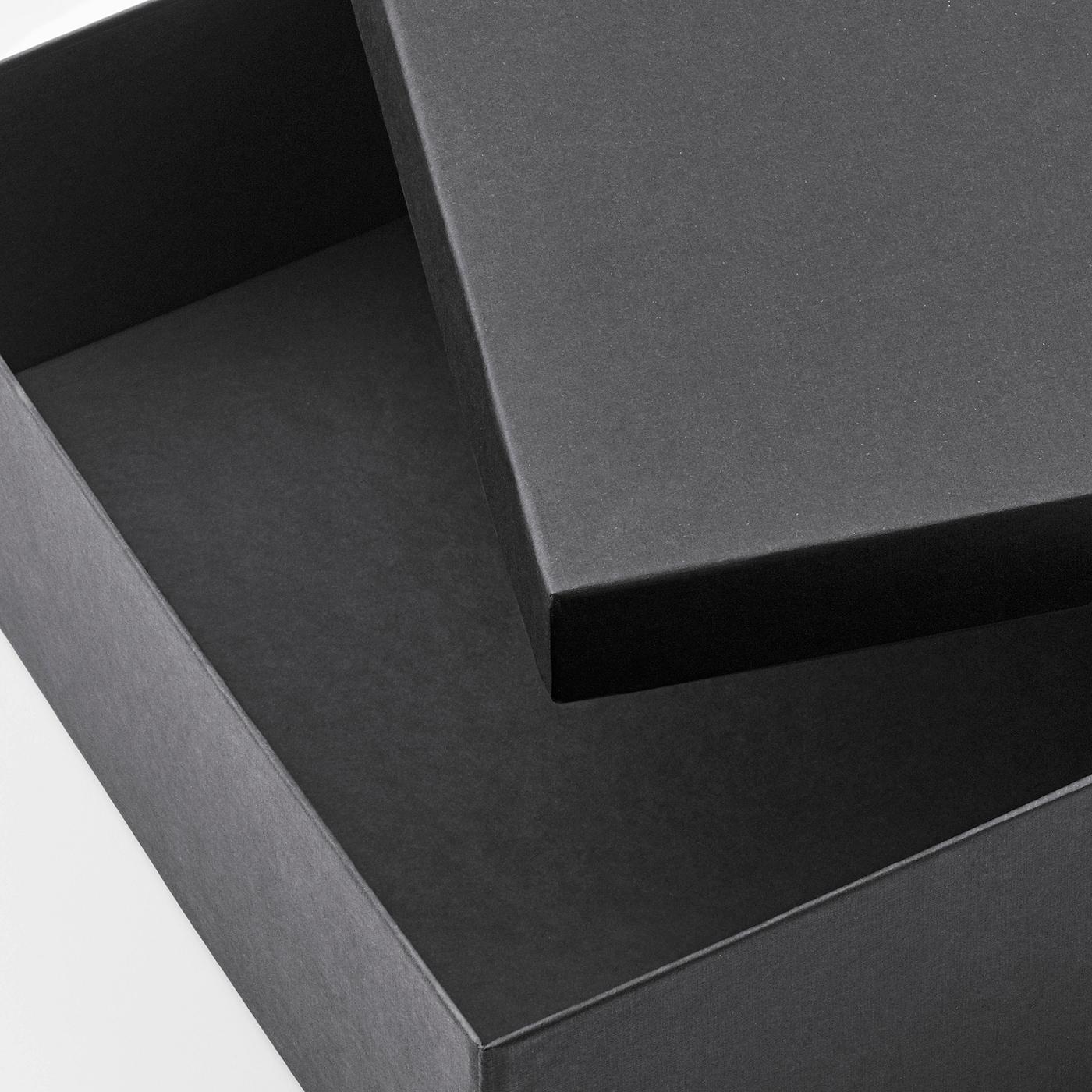TJENA Storage box with lid, black, 25x35x10 cm
