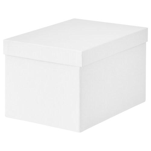 TJENA storage box with lid white 25 cm 18 cm 15 cm