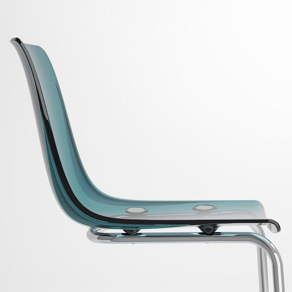TOBIAS Chair, blue/chrome-plated
