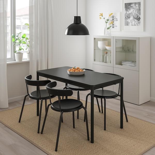 TOMMARYD / YNGVAR طاولة و4 كراسي, فحمي/فحمي, 130x70 سم
