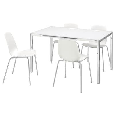 TORSBY / LEIFARNE طاولة و4 كراسي, زجاج أبيض/أبيض, 135 سم