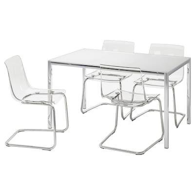 TORSBY / TOBIAS طاولة و4 كراسي, زجاج أبيض/شفاف, 135 سم