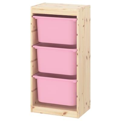 TROFAST تشكيلة تخزين, صنوبر مصبوغ أبيض فاتح/زهري, 44x30x91 سم