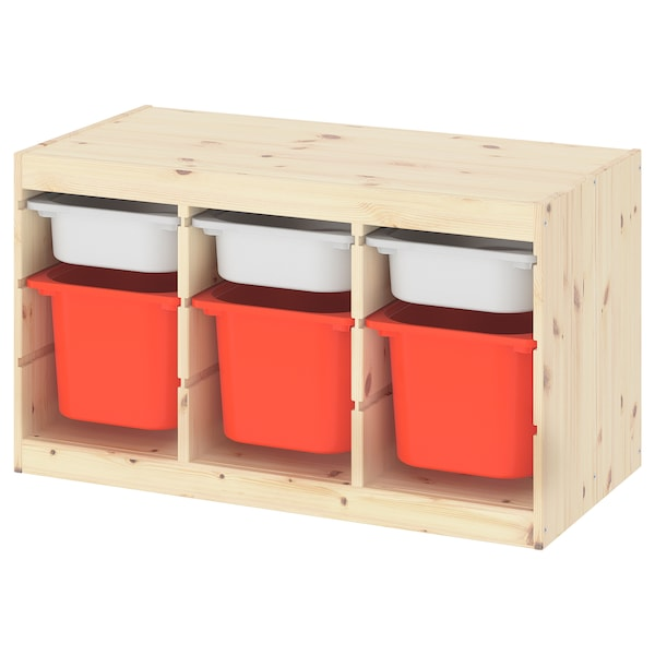 TROFAST Storage combination with boxes, light white stained pine white/orange, 93x44x52 cm