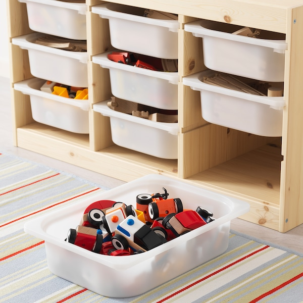 TROFAST Storage combination with boxes, light white stained pine white/pink, 93x44x52 cm