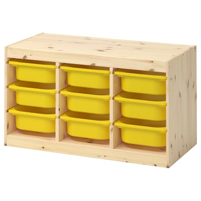 TROFAST تشكيلة تخزين, صنوبر مصبوغ أبيض فاتح/أصفر, 94x44x52 سم