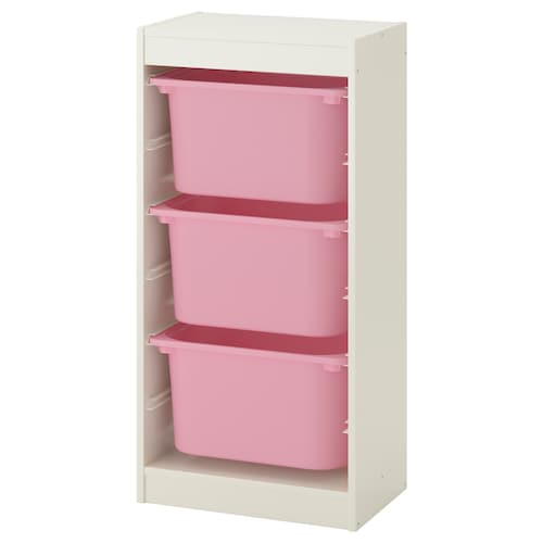 TROFAST storage combination with boxes white/pink 46 cm 30 cm 94 cm