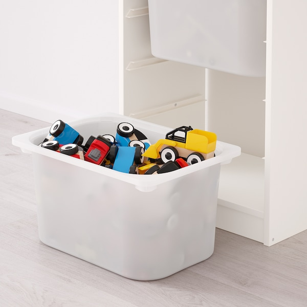TROFAST Storage combination with boxes, white/white pink, 46x30x94 cm