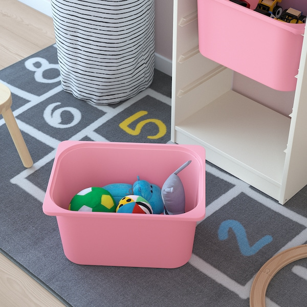TROFAST Storage combination with boxes, white/white pink, 46x30x145 cm