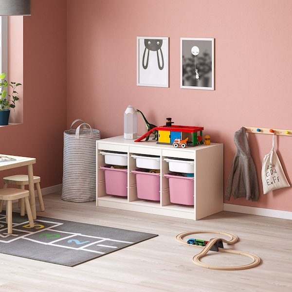 TROFAST Storage combination with boxes, white white/pink, 99x44x56 cm