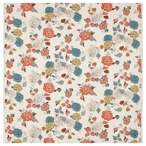 TROLLMAL Fabric, natural/flower patterned, 150 cm