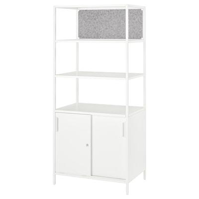 TROTTEN خزانة مع أبواب منزلقة/لوحة ملاحظات, أبيض, 80x180 سم