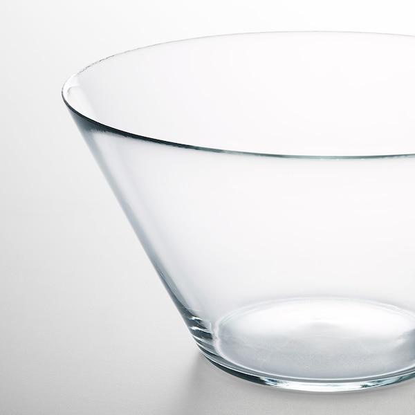TRYGG طبق تقديم عميق., زجاج شفاف, 28 سم