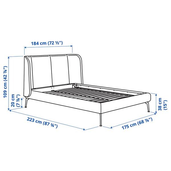 TUFJORD هيكل سرير بتنجيد, Djuparp أخضر غامق, 160x200 سم