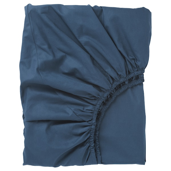 ULLVIDE Fitted sheet, dark blue, 90x200 cm