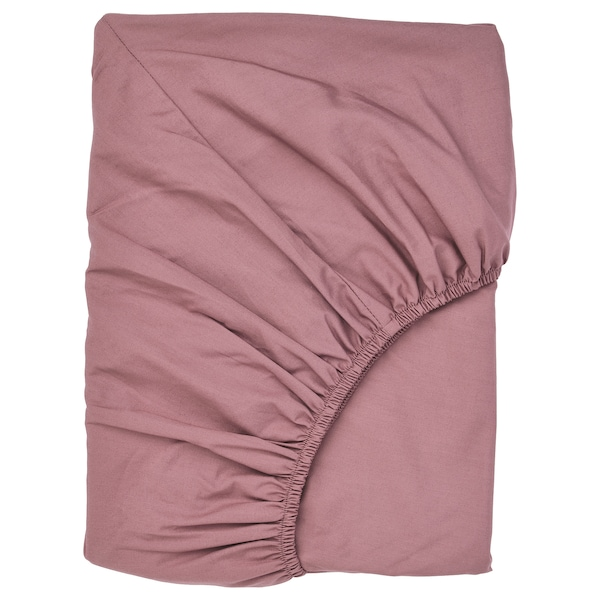 ULLVIDE Fitted sheet, dark pink, 90x200 cm