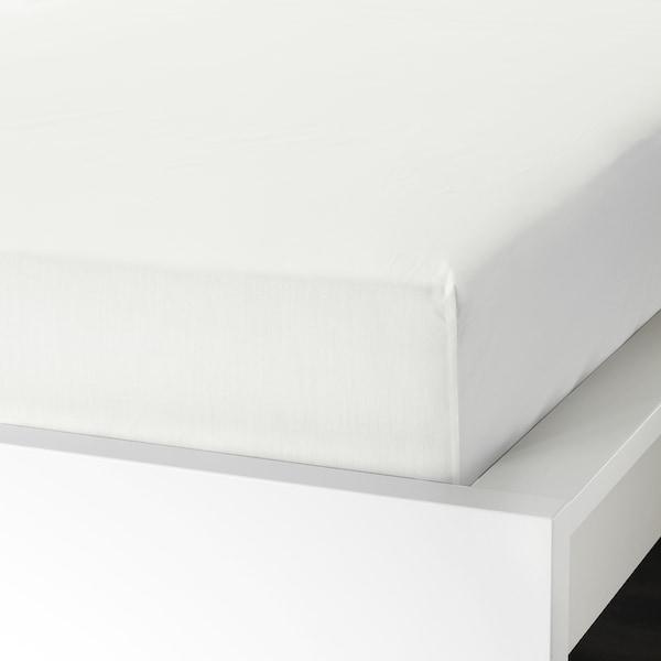 ULLVIDE Fitted sheet, white, 180x200 cm