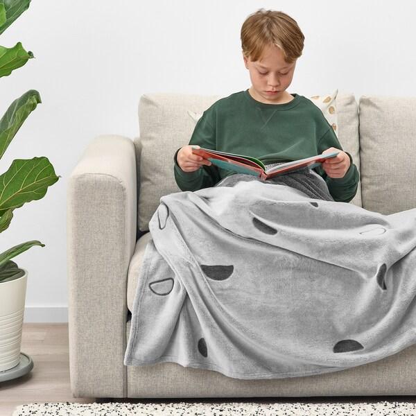 VÄNKRETS Blanket, light grey, 130x170 cm