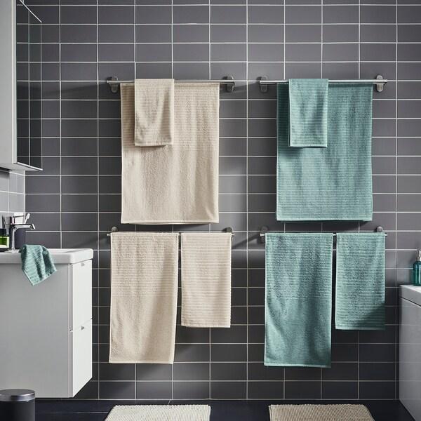 VÅGSJÖN فوطة حمام, رمادي- تركواز, 70x140 سم