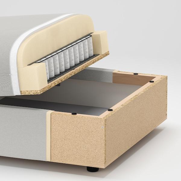 VALLENTUNA وحدة كنب بثلاث مقاعد, مع طرف مفتوح وتخزين/Hillared أزرق فاتح