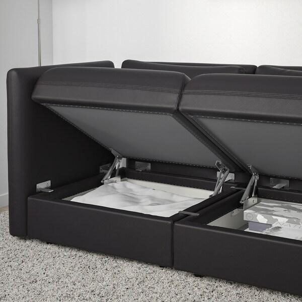 VALLENTUNA وحدة كنب بثلاث مقاعد, مع طرف مفتوح وتخزين/Murum أسود