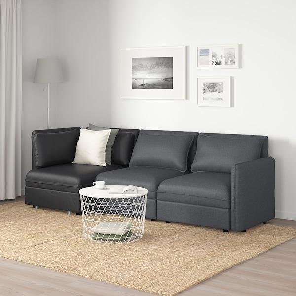 VALLENTUNA 3-seat modular sofa with sofa-bed, and storage/Hillared/Murum dark grey/black