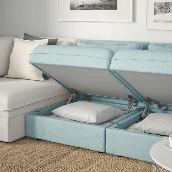 VALLENTUNA 3-seat modular sofa with sofa-bed, and storage/Hillared/Murum light blue/white