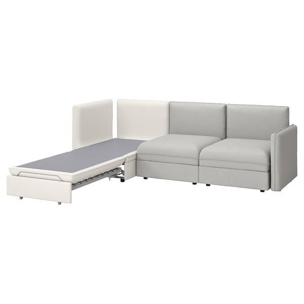 VALLENTUNA 3-seat modular sofa with sofa-bed, and storage/Orrsta/Murum light grey/white