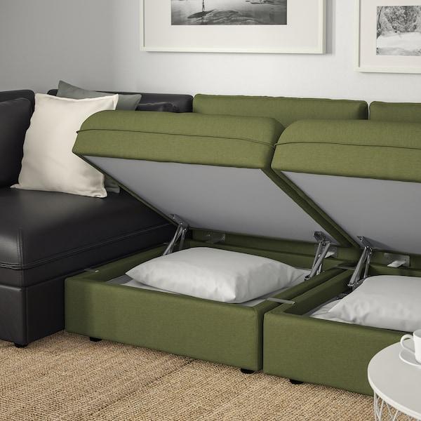 VALLENTUNA 3-seat modular sofa with sofa-bed, and storage/Orrsta/Murum olive-green/black