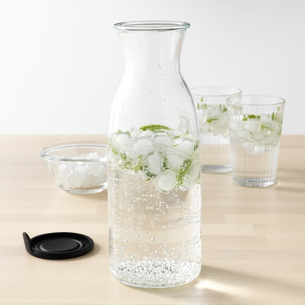 VARDAGEN carafe with lid clear glass 24.5 cm 9 cm 1.0 l