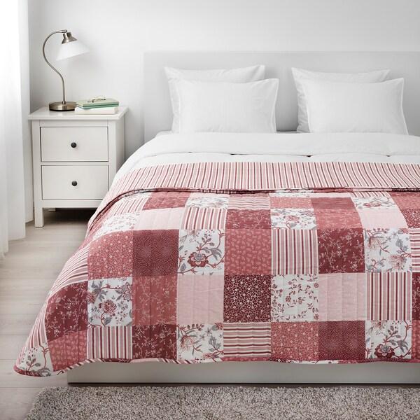 VÅRRUTA غطاء سرير, أبيض/زهري, 260x250 سم