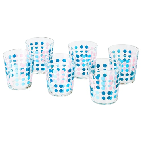VECKAD glass patterned 9 cm 30 cl 6 pack