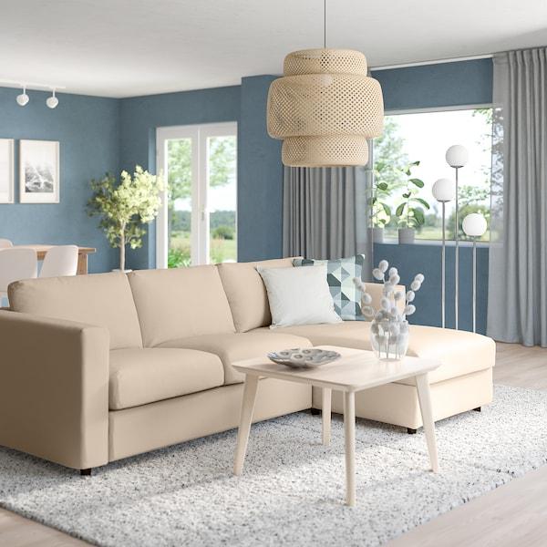 VIMLE 3-seat sofa with chaise longue, Hallarp beige