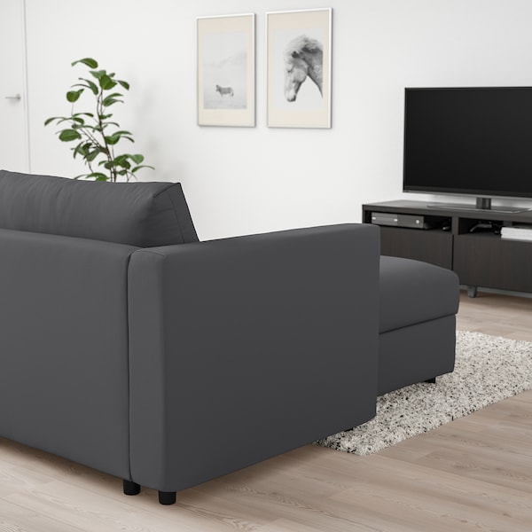 VIMLE 3-seat sofa with chaise longue, Hallarp grey