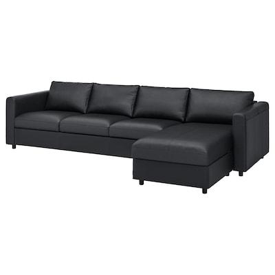 VIMLE كنبة 4 مقاعد, مع أريكة طويلة/Grann/Bomstad أسود