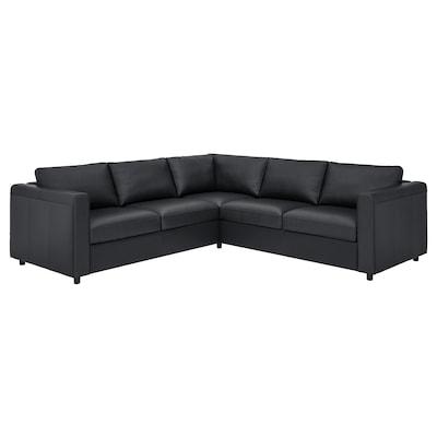 VIMLE Corner sofa, 4-seat, Grann/Bomstad black
