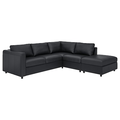 VIMLE Corner sofa, 4-seat, with open end/Grann/Bomstad black