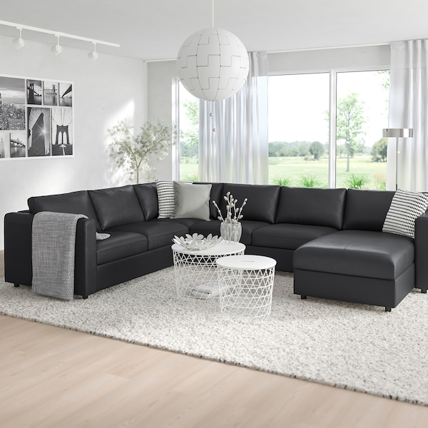 VIMLE كنبة زاوية، 5 مقاعد, مع أريكة طويلة/Grann/Bomstad أسود