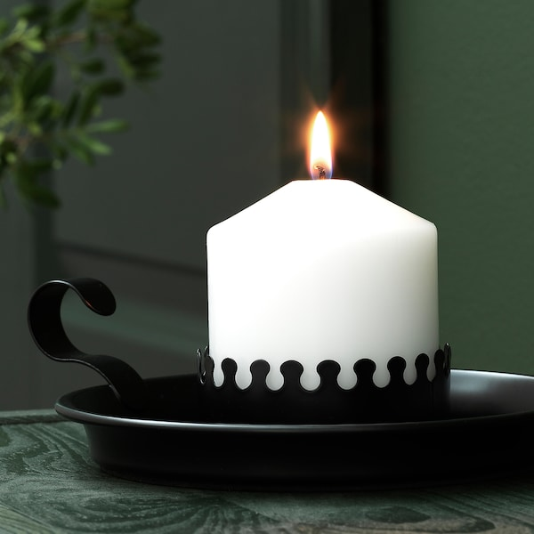 VINTER 2020 Block candle holder, black, 5 cm