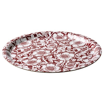 VINTER 2020 Tray, Christmas rose pattern red/white, 32 cm