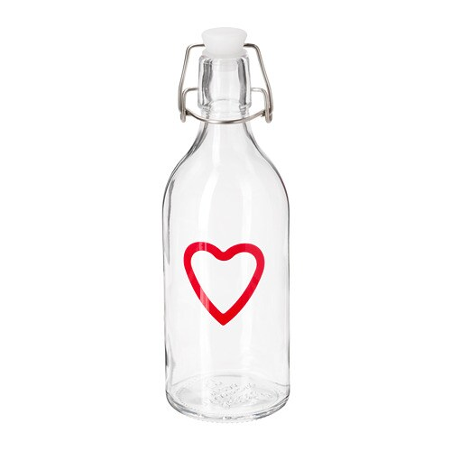 VINTER 2018 Bottle with stopper, clear glass, patterned