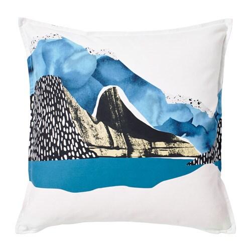 VINTER 2017 Cushion cover, white/black, blue