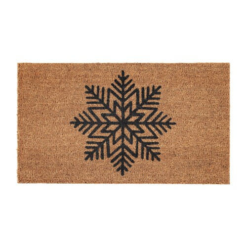 VINTER 2017 Door mat, snowflake natural, grey