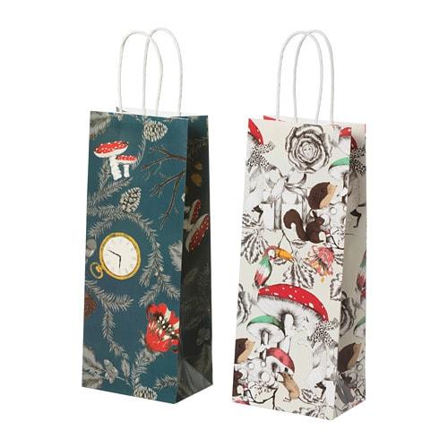 VINTER 2018 Gift bag for bottle, white, blue