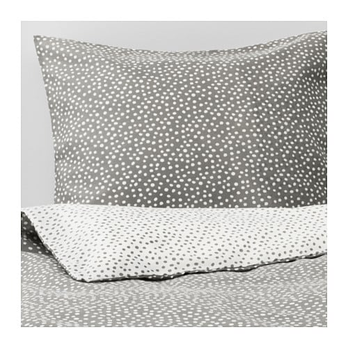 VINTER 2017 Quilt cover and 2 pillowcases, grey, white