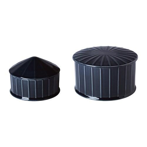 VINTER 2018 Serving bowl with lid, set of 2, dark blue