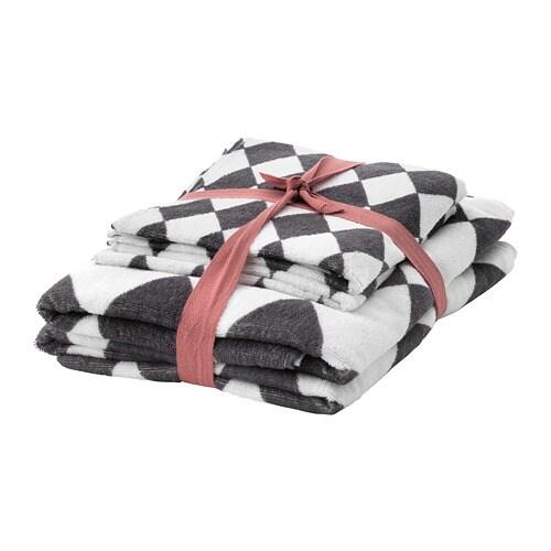 VINTER 2018 Towel, set of 4, grey/white